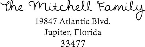 Mitchell Family Handwritten Address Stamp
