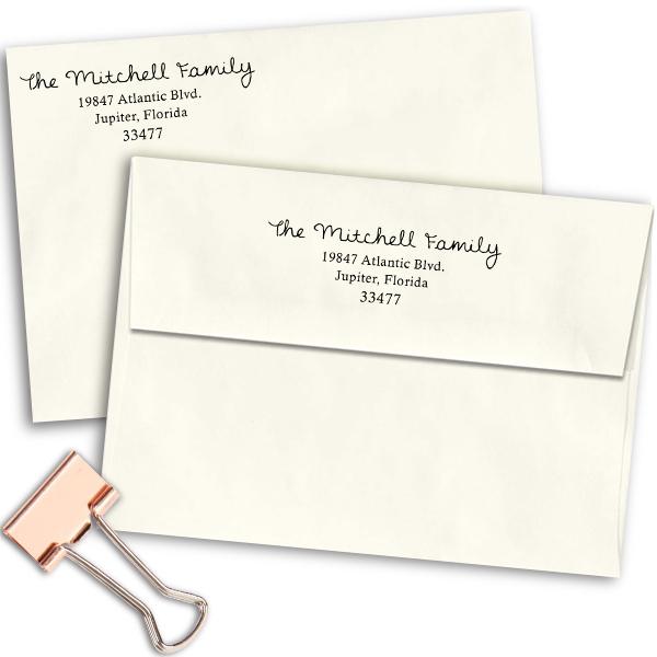 Mitchell Family Handwritten Address Stamp Imprint Examples on Envelopes