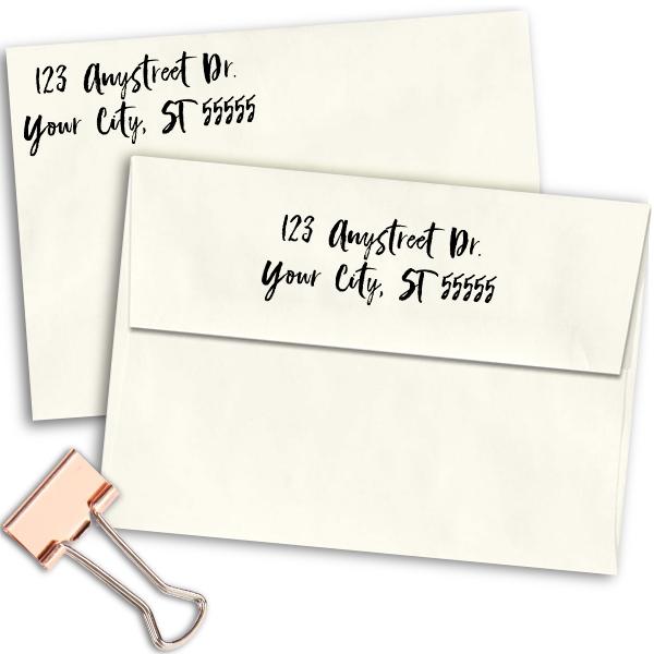 Script Custom 2 Line Stamp Imprint Example