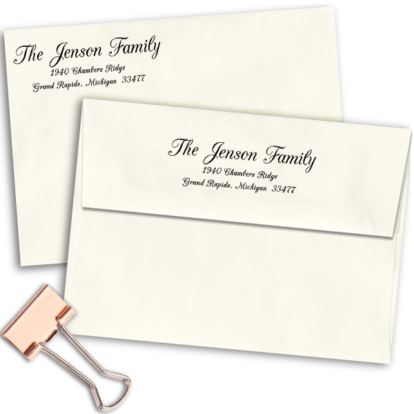 Jenson Family Handwritten Address Stamp Imprint Examples on Envelopes