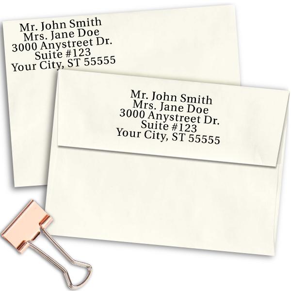 Serif Custom 5 Line Stamp Imprint Example