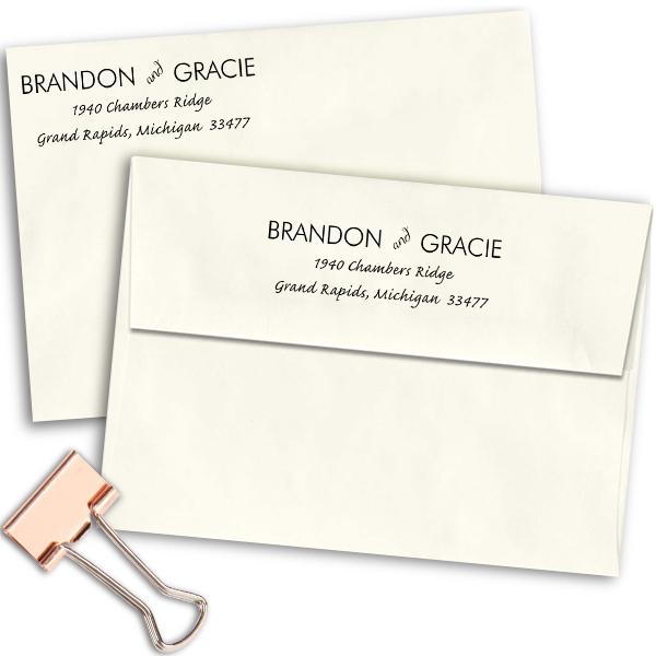 Couple Handwritten Address Stamp Imprint Examples on Envelopes