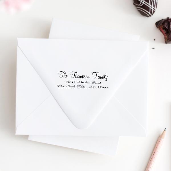 Thompson Family Handwritten Address Stamp Imprint Examples on Envelopes