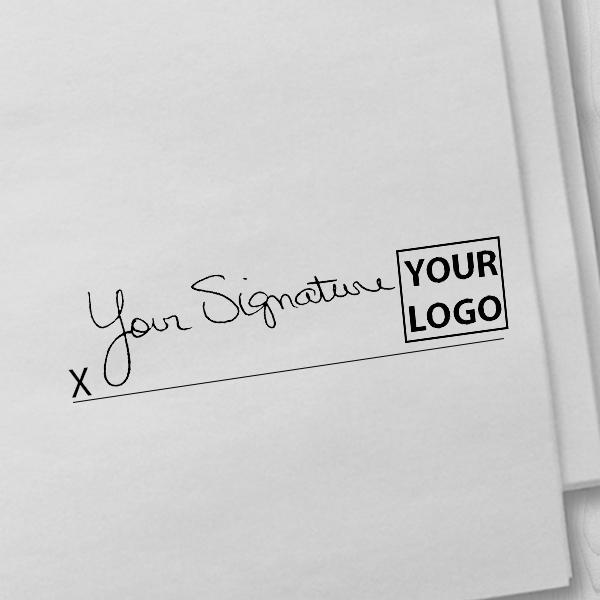 Large Right Logo Signature Stamp Imprint Example