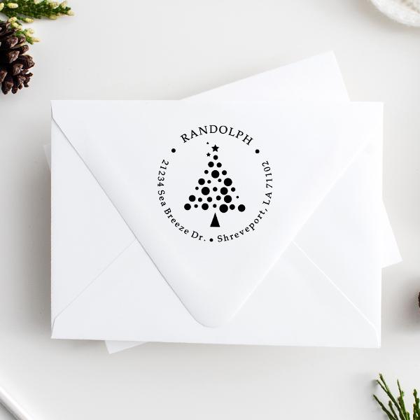 Polka Dot Christmas Tree Return Address Stamp Imprint Examples on Envelopes