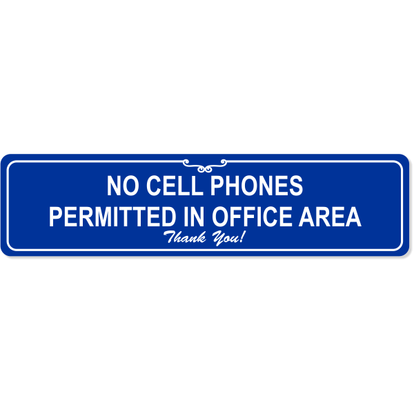 """Office Cell Phone Engraved Plastic Sign   2"""" x 8"""""""