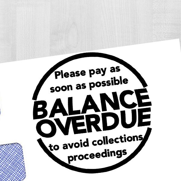 Balance Overdue Round Stamp Imprint Example