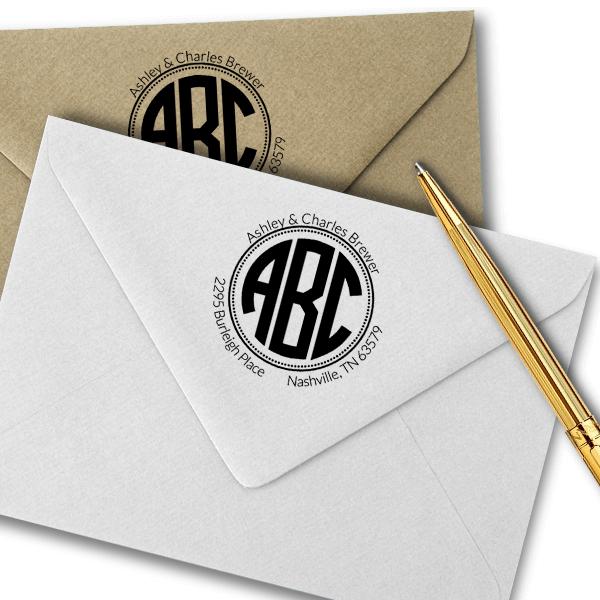 Brewer Monogram Address Stamp Imprint Example