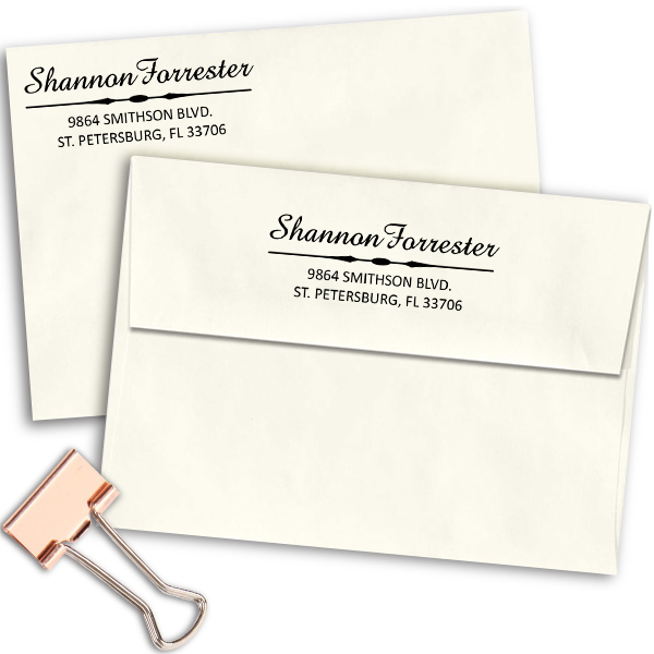 Forrester 3 Line Address Stamp Imprint Examples on Envelopes