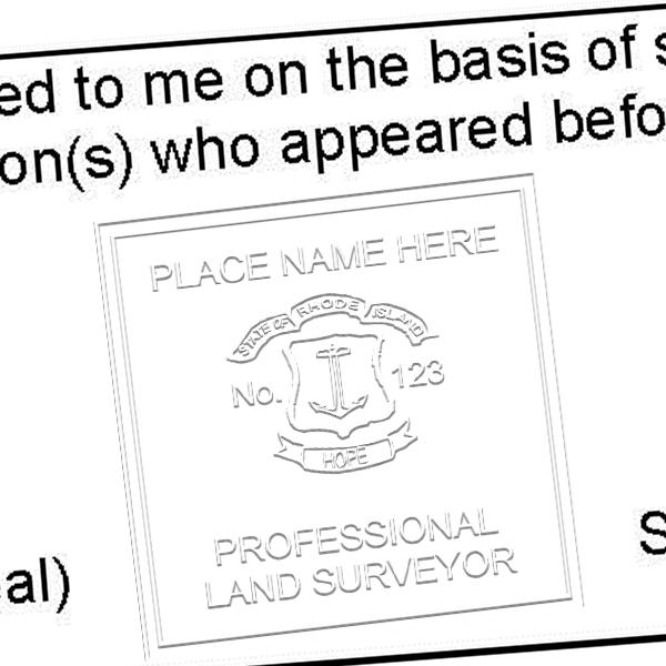 State of Rhode Island Land Surveyor Seal  Embosser Impression Example