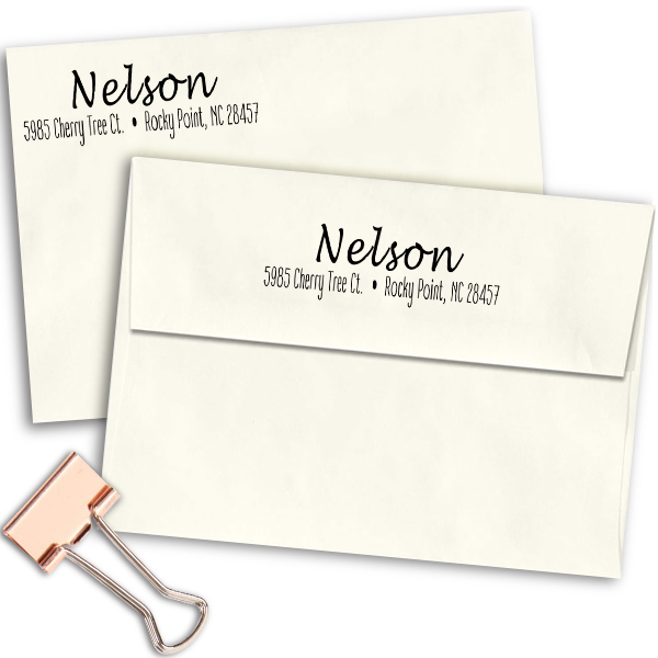 Nelson Cursive 2 Line Address Stamp Imprint Examples on Envelopes