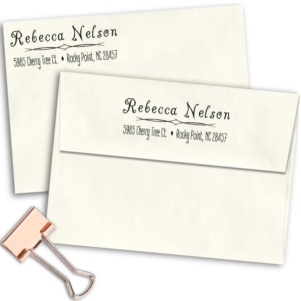 Nelson Deco Return Address Stamp Imprint Examples on Envelopes