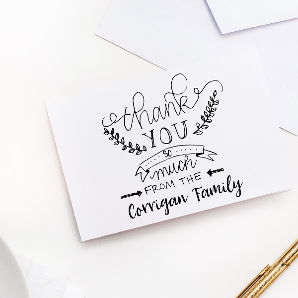 Banner Laurel Thank You Stamp Imprint Example