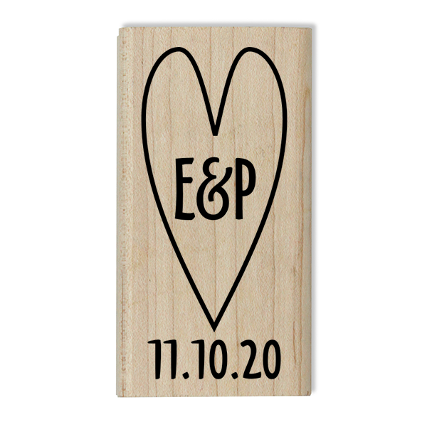 Custom Save the Date Heart Stamp Body and Design