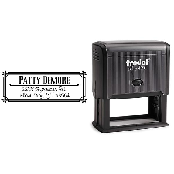 Demure Return Address Stamp Body and Design