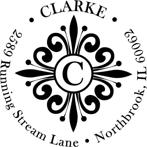 Clarke Deco Monogram Round Address Stamp