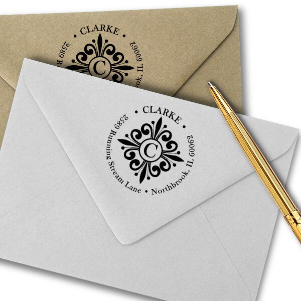 Clarke Deco Monogram Round Address Stamp Imprint Examples on Envelopes