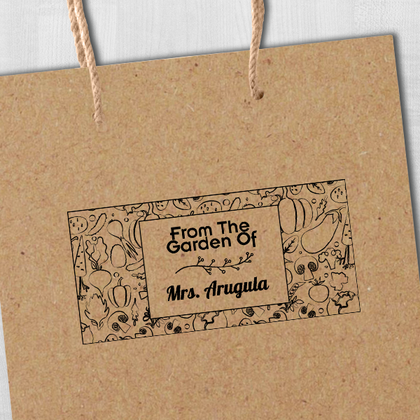 Arugula Rectangular Pattern Garden Stamp Imprint Example