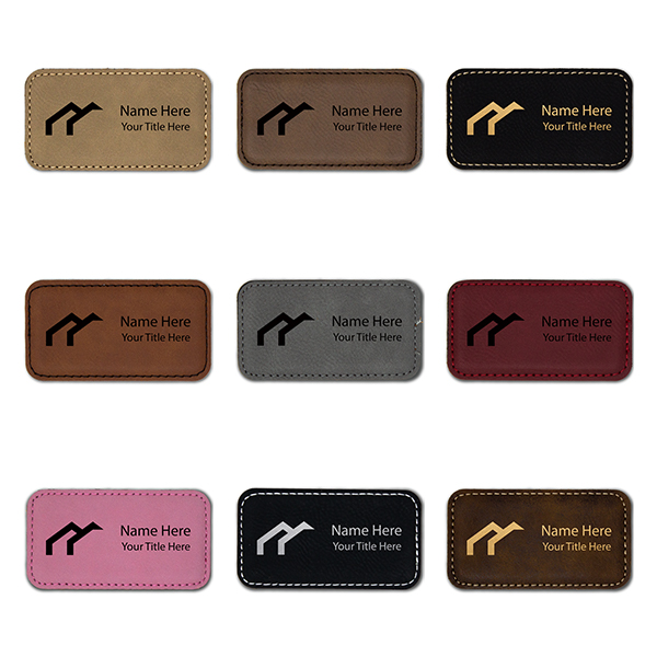 "Leatherette Rectangle Magnetic Name Tag - 1.75"" x 3.25"" Color Examples"