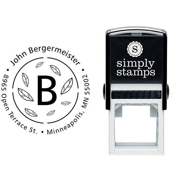 Bergermeister Leaves Return Address Stamp Body and Imprint