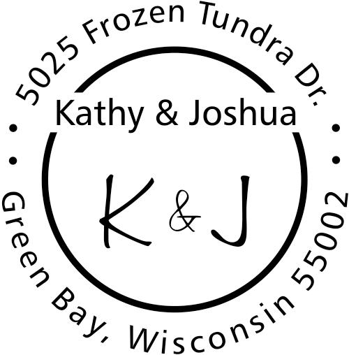 First Names Initials Round Address Stamp