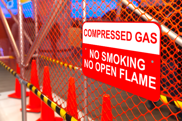 """Mounted Compressed Gas Aluminum Sign   12"""" x 18"""""""