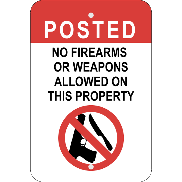Vertical No Weapons on Property Sign