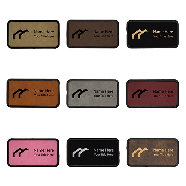 """Leatherette Rectangle Name Tag with Frame - 1.5"""" x 3"""" Color Options"""