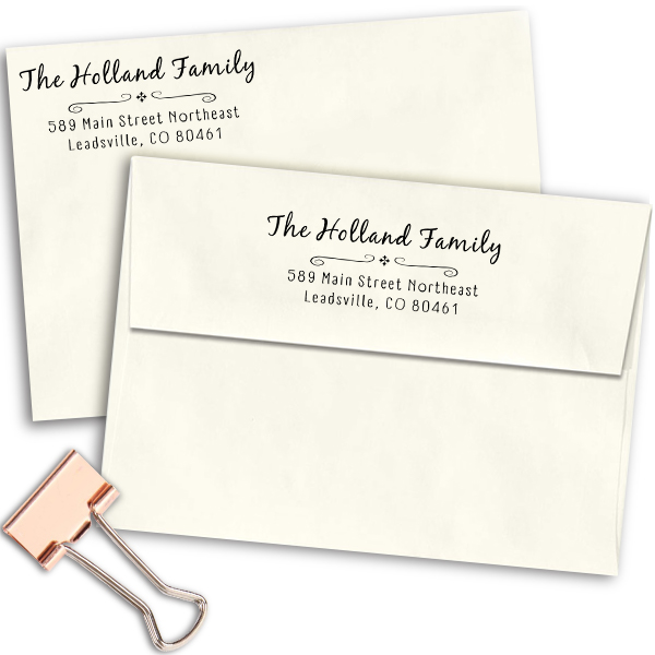 Holland Curly Deco Address Stamp Imprint Examples on Envelopes