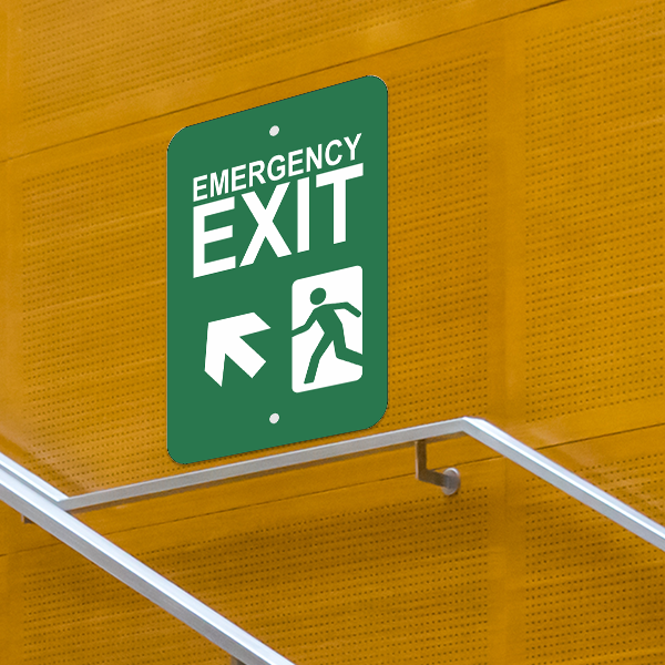 Mounted Vertical Forward Left Arrow Emergency Exit Sign
