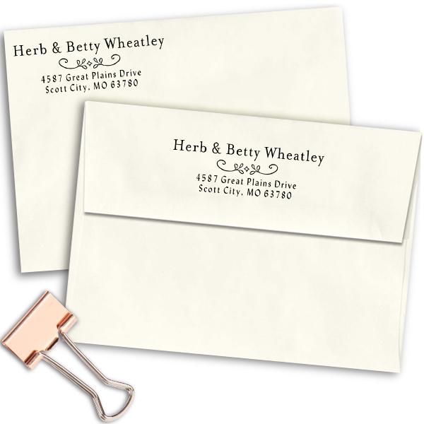 Wheatley Deco Address Stamp Imprint Examples on Envelopes
