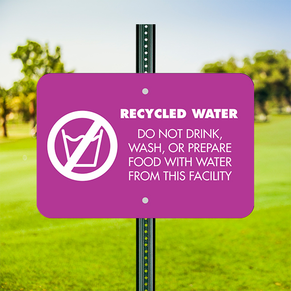 Mounted Horizontal Recycled Water Notice Sign