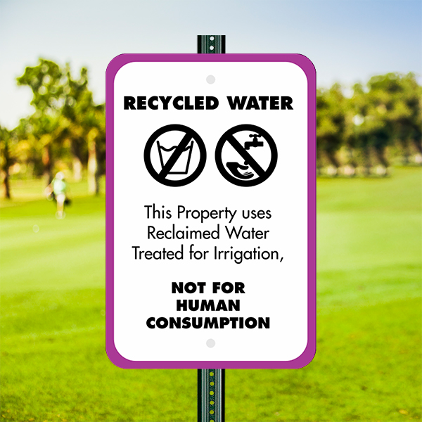 Mounted Vertical Not For Human Consumption Recycled Water Sign