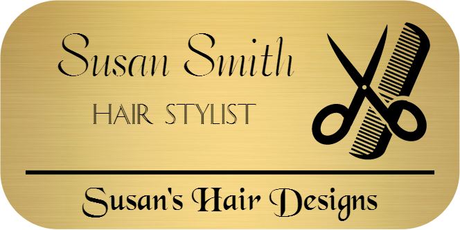 Comb and Scissors 3 Line Rectangle Hair Salon Name Tag