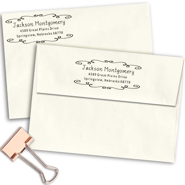 Montgomery Curly Deco Border Address Stamp Imprint Examples on Envelopes