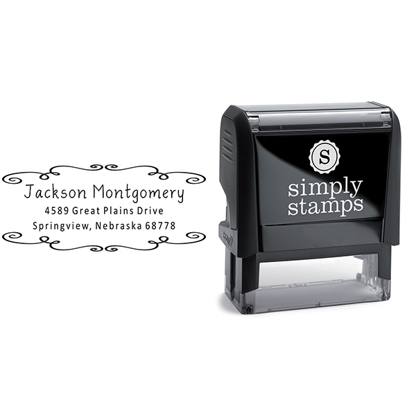 Montgomery Curly Deco Border Address Stamp Body and Imprint