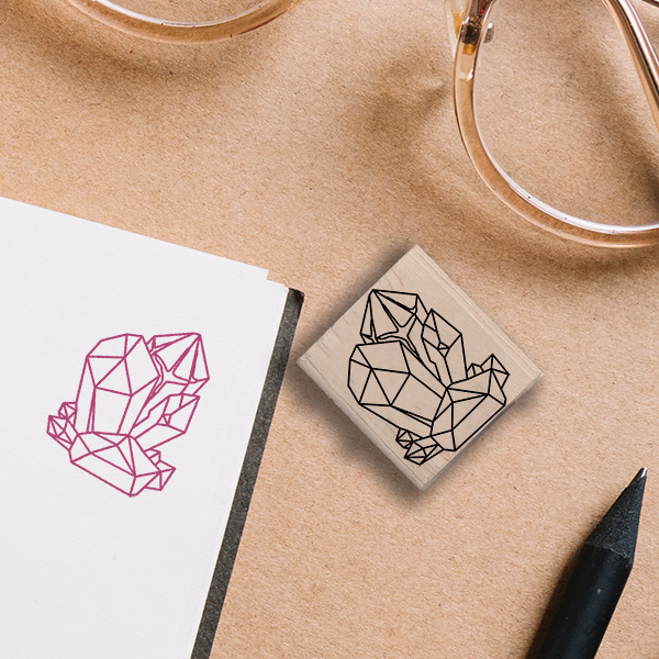 Geode Cluster Stamp Lifestyle Photo and Imprint Example