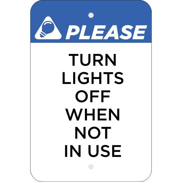 Vertical Lights Off Conserve Energy Sign
