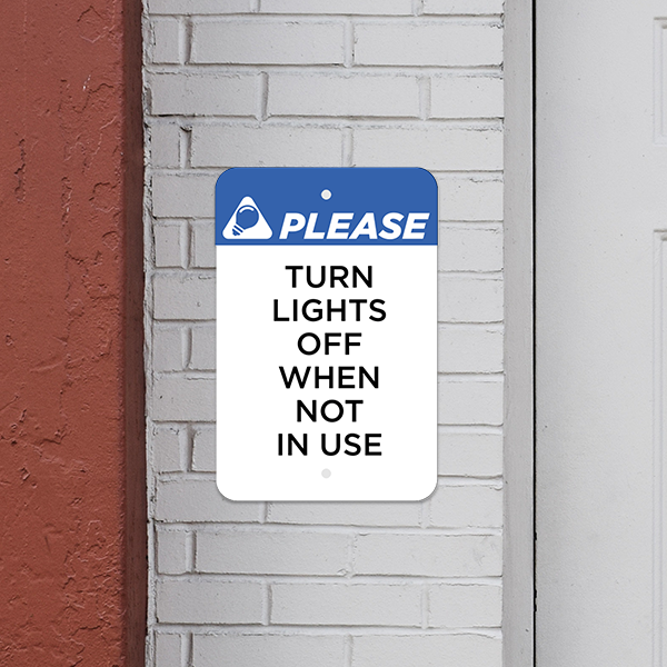 Mounted Vertical Lights Off Conserve Energy Sign