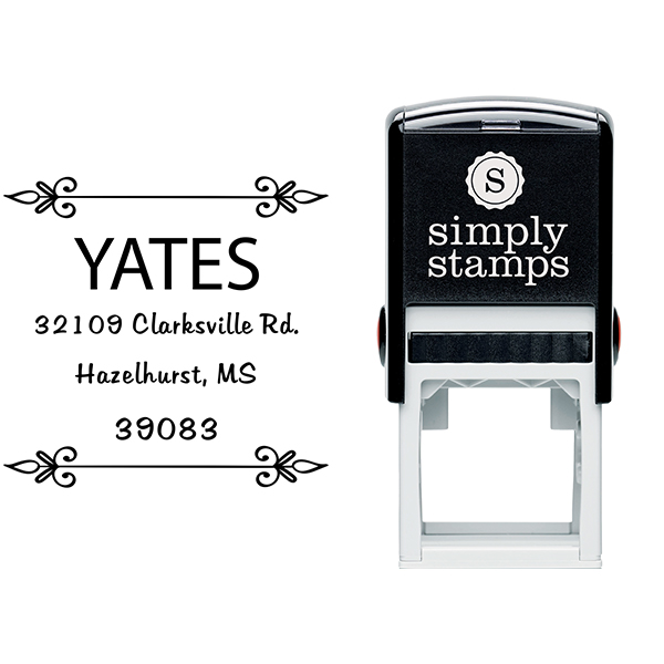 Yates Vintage Deco Square Address Stamp Body and Imprint