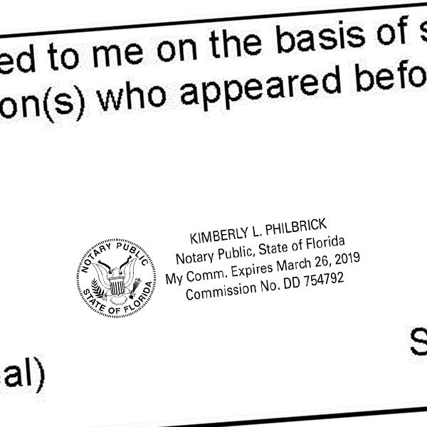 Florida Notary Public Great Seal Rectangular Design Imprint Example