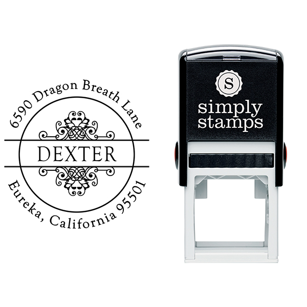 Dexter Vintage Circle Address Stamp Body and Imprint