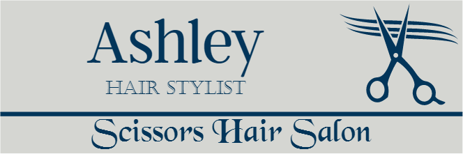 Scissors 3 Line Rectangle Hair Salon Name Tag