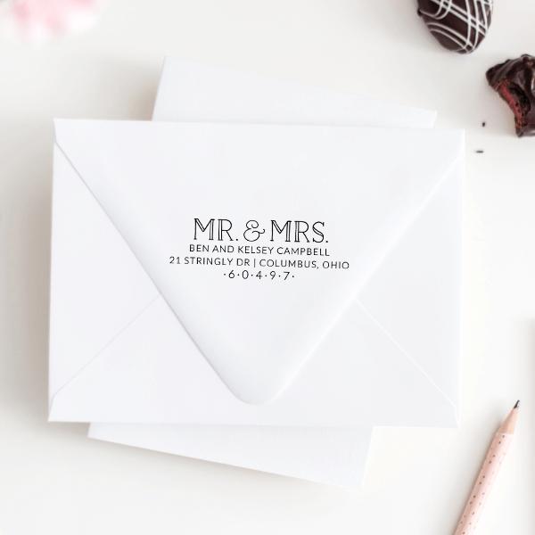 Campbell Wedding Address Stamp Imprint Example