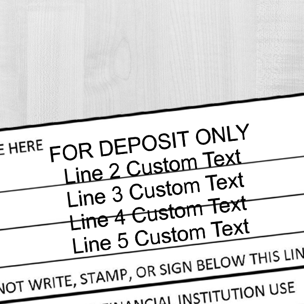 5 Line Traditional Rubber Stamp For Deposit Only Imprint Example on Paper