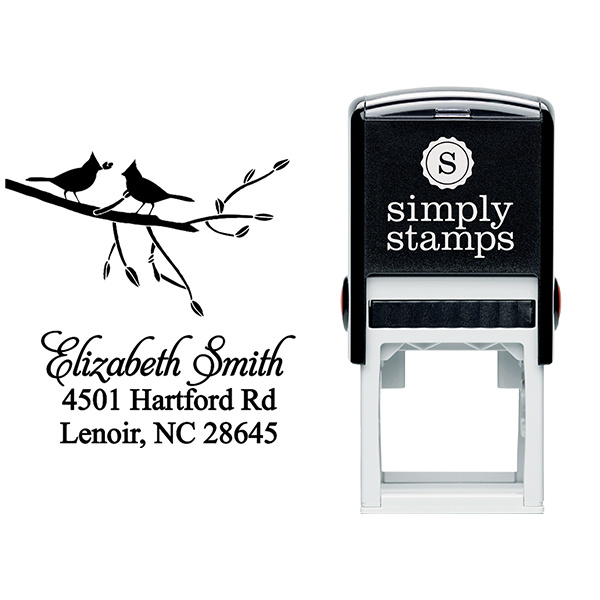 Birds Giving Gifts Address Stamp Body and Imprint