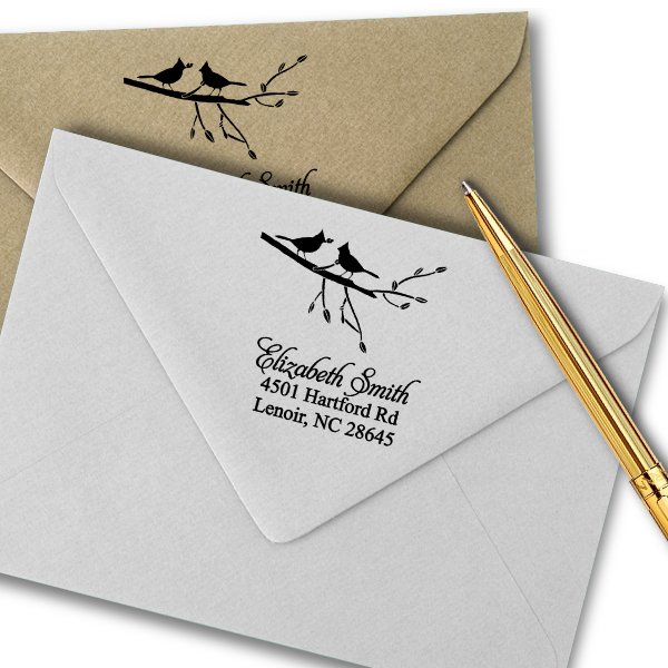 Birds Giving Gifts Address Stamp Imprint Example