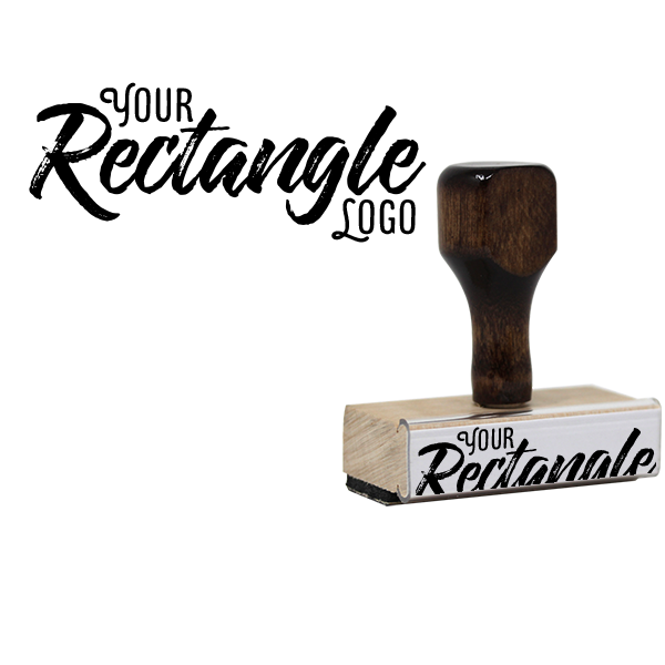 Rectangle Logo Hand Stamp | Wood Handle Body and Design