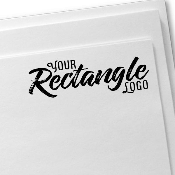 Rectangle Logo Hand Stamp | Wood Handle Imprint Example