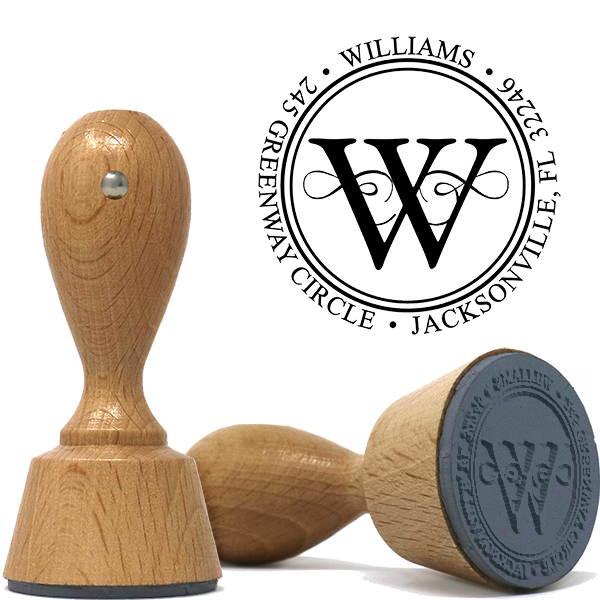 Executive Wood Handle European Address Stamp